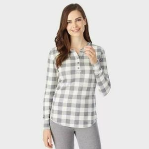 Cuddl Duds Women's Waffle Plaid Thermal Henley